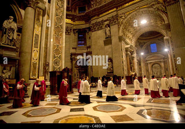 Rome, Italy; Cardinals from all over the world attending a mass for the ordinance of new priests - Stock Image
