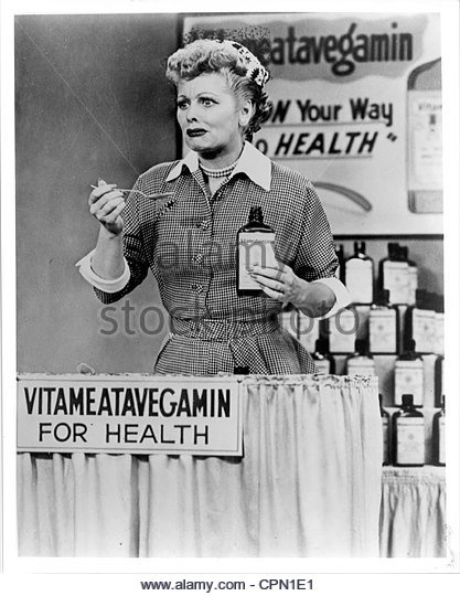 circa 1950's - Lucille Ball in a still from the vita-meata-vegamin episode of 'I Love Lucy'. Editorial - Stock Image