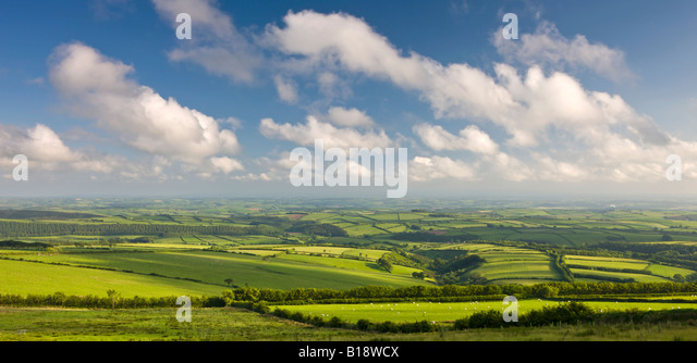 Spectacular rolling countryside of Exmoor National Park and rural Devon England - Stock-Bilder