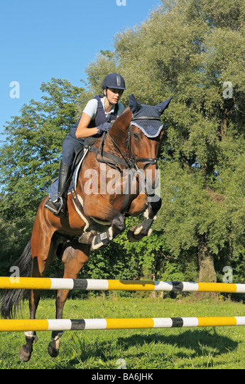 young woman - Show jumping - Stock Image