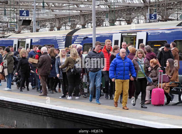 Packed Scotrail Abellio train service. Glasgow Central station, Scotland - Stock Image