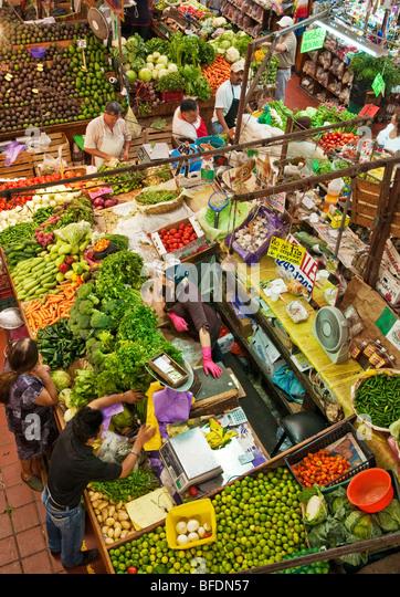 Produce stand at mercado libertad guadalajara mexico stock image