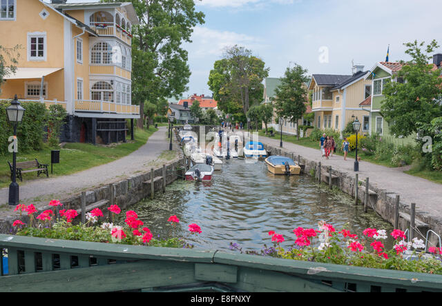Trosa Town stream - Stock Image