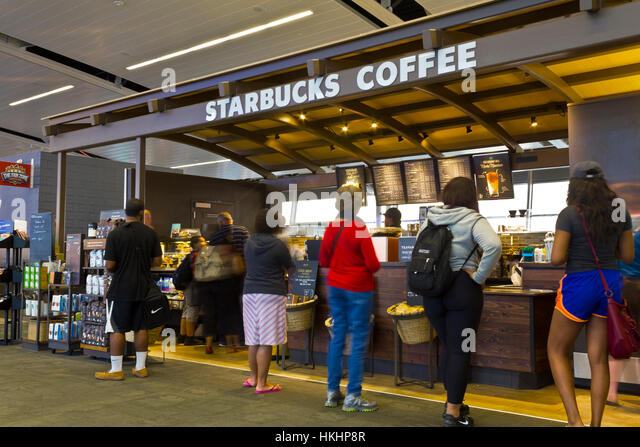 Indianapolis - Circa July 2016: Starbucks Coffee Airport Location. Starbucks is an American Retail Coffee Chain - Stock Image