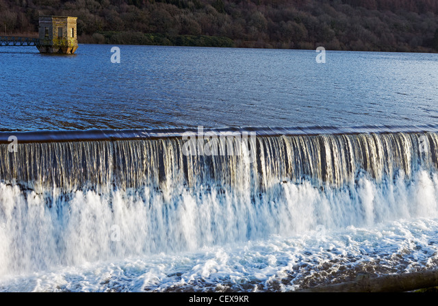 Talybont Reservoir overflow, Talybont, South Wales, UK - Stock Image