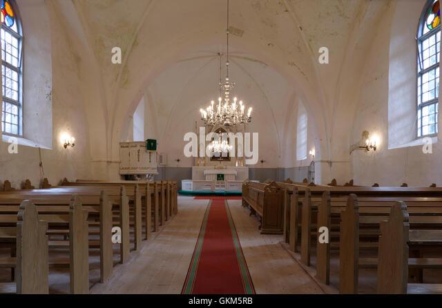 Interior of Mihkli Church in Pärnu County. Estonia Baltic States EU - Stock Image