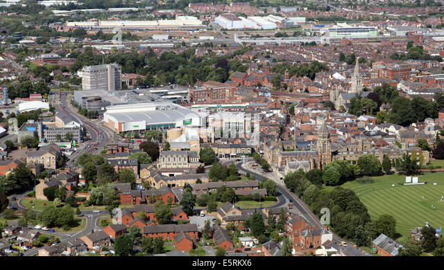 aerial view of Rugby town centre - Stock Image