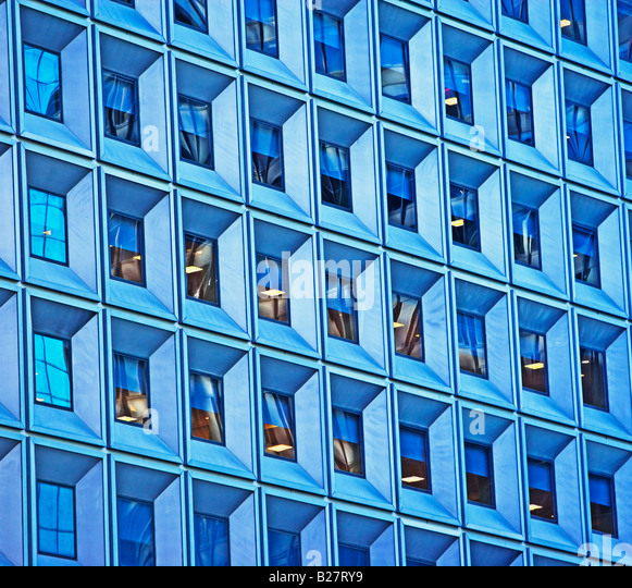 Low angle view of high rise, New York City, New York, United States - Stock Image