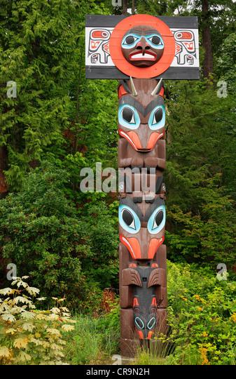 Totem Pole in Stanley Park, Vancouver, BC - Stock-Bilder