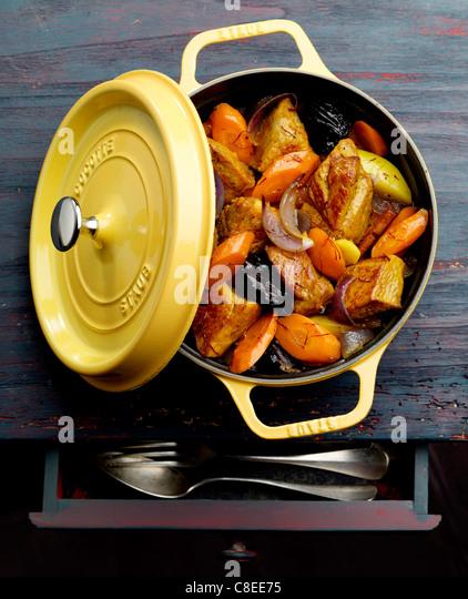 Pork,carrot and prune casserole - Stock Image
