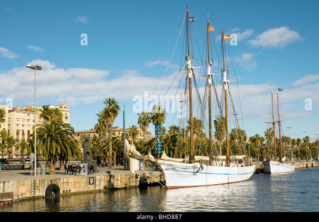Boats in Port Vell, Barcelona, Spain - Stock Image