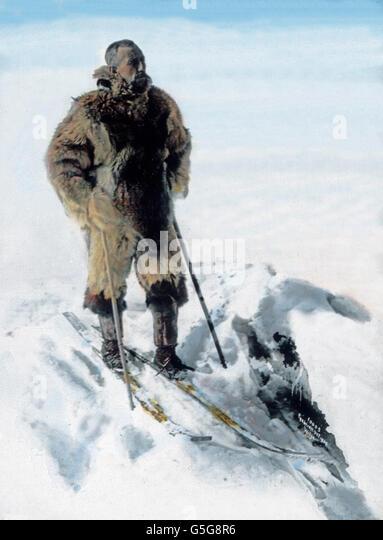 Roald Amundsen (1872 - 1928), Polarforscher, explorer of polar regions. man, snow, pole, North, South, arctis, antarctis, - Stock Image