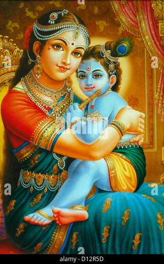 illustration of yashoda and krishna - Stock Image