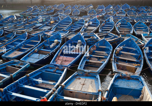 Traditional blue fishing boats in the harbour, Essaouira, Atlantic coast, Morocco, North Africa, Africa - Stock Image