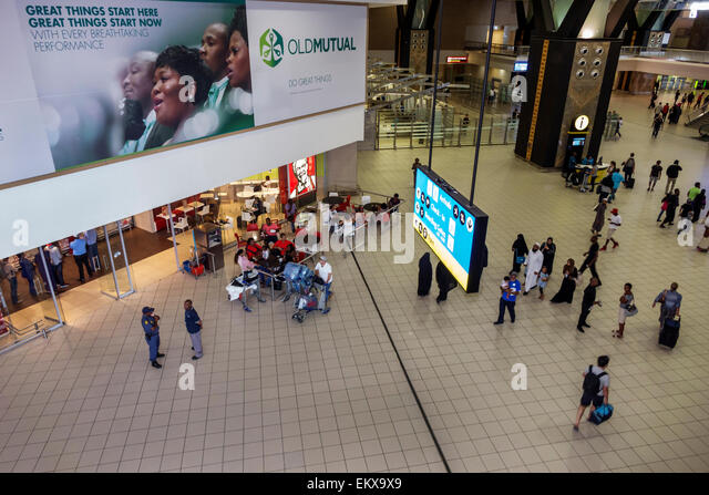 South Africa African Johannesburg O. R. Tambo International Airport inside terminal concourse - Stock Image