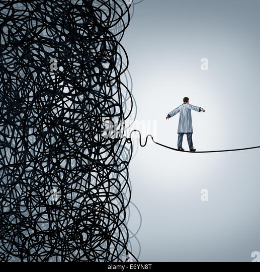 Medical crisis management with a doctor walking on a straight line out of a confused mess of tangled wires as a - Stock Image