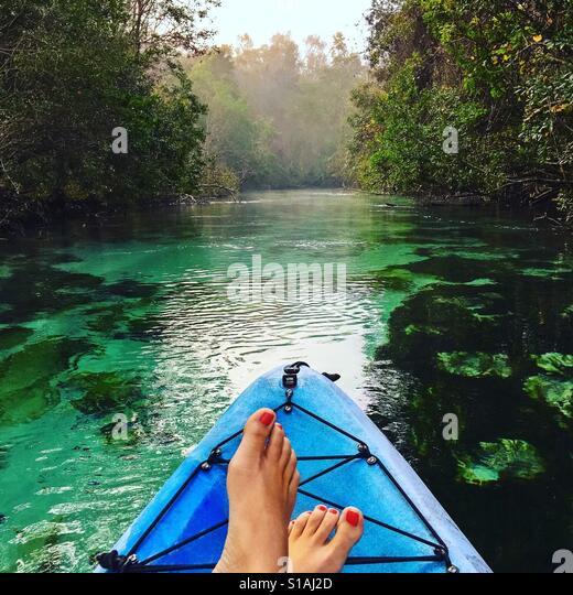 Kayaking on the Weeki Wachee Springs - Stock-Bilder