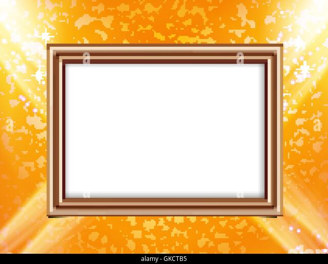 Blank frame on a colored wall lighting spotlights - Stock-Bilder