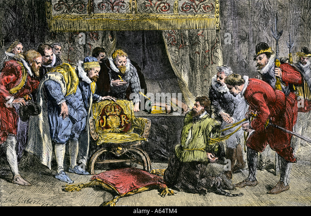 Guy Fawkes brought before King James I after discovery of the Gunpowder Plot to blow up Parliament 1605 - Stock Image