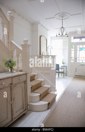 Entrance hall with ceiling rose, London - Stock Image