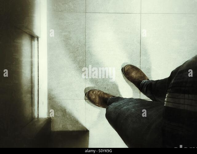 Waiting for the elevator. - Stock Image