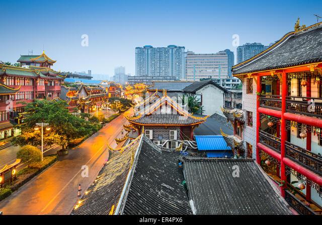 Chengdu, China at traditional Qintai Road district. - Stock Image