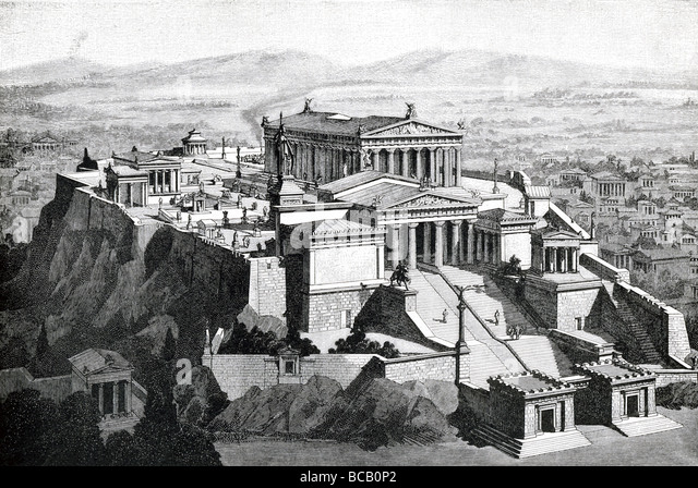 The Acropolis in Athens, Greece, as it looked in ancient times, with the Parthenon and other relgiious buildings - Stock Image
