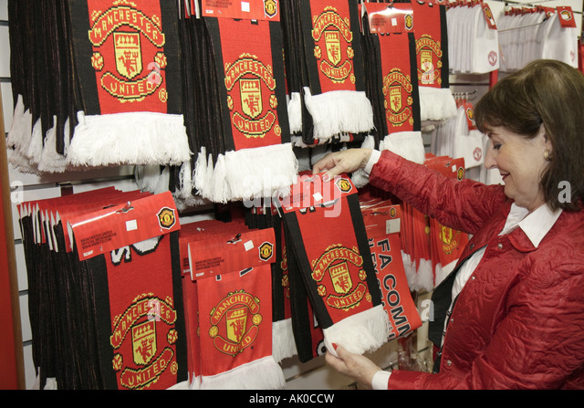 UK, England, Manchester, Manchester United Football Club, Old Trafford Stadium souvenir shop, - Stock Image