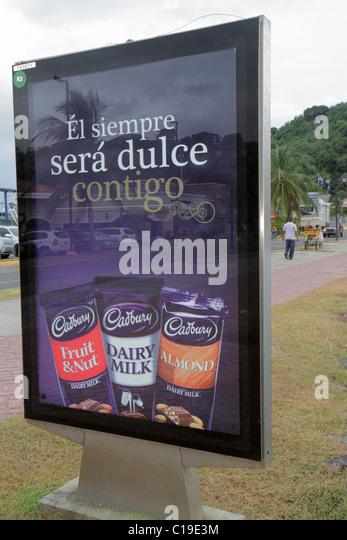 Panama City Panama Amador Causeway Calzada de Amador Bahia de Panama Panama Canal Isla Flamenco Cadbury chocolate - Stock Image