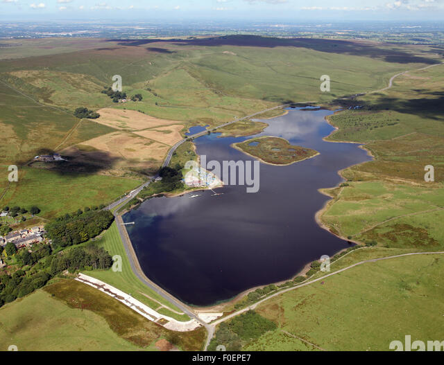 aerial view of Bolton Sailing Club at Belmont Reservoir, Lancashire, UK - Stock Image
