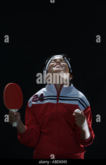 Junior table tennis champ - Stock Image