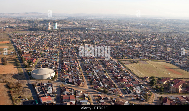 Aerial view of the township of Soweto - Stock-Bilder