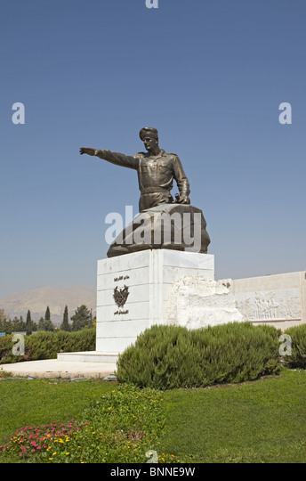 Syria Damascus Panorama military museum Assad statue  commemorating the Yom Kippur or October war and the six days - Stock Image