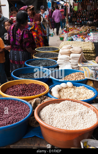 Beans for sale, Chichicastenango, Guatemala, Central America - Stock Image