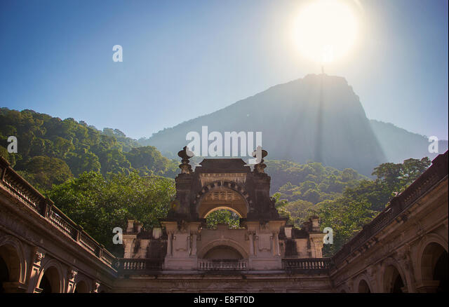Brazil, Rio de Janeiro, Low angle view of Christ Redeemer - Stock Image