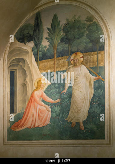 Noli me tangere, by Fra Beato Angelico, Cell Number 1, 1438-1440, Convent of San Marco, Florence, Tuscany, Italy, - Stock Image
