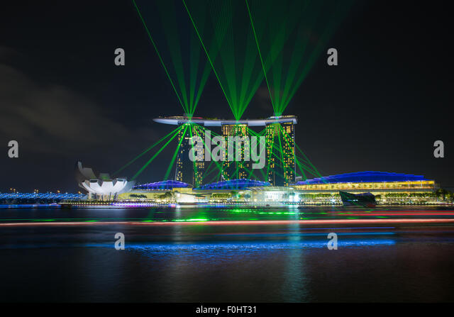 Laser show of Singapore Marina Bay, Singapore - Stock Image
