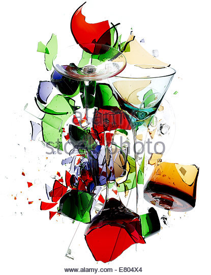 colorful shattered & broken glass against white background - Stock Image