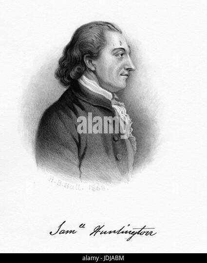 Engraved portrait of Samuel Huntington, signer of the Declaration of Independence and Articles of Confederation - Stock Image