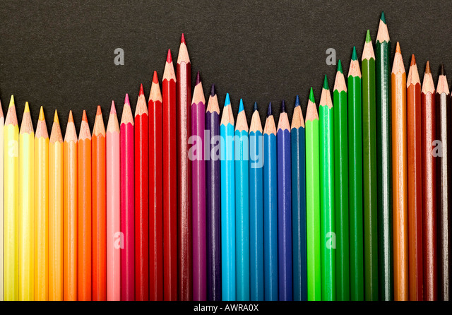 pen pencil wood color colour multi rainbow color paint colorful draw supply art pattern creative equipment write - Stock Image