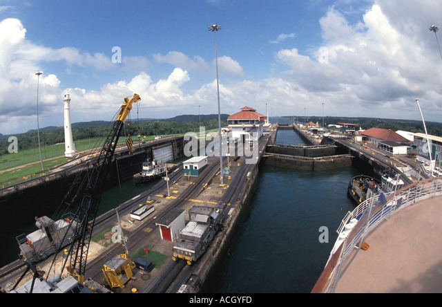 Panama Central America Panama Canal Ships transiting Gatun Locks - Stock Image