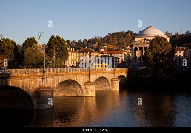 Po River, Vittorio Emanuele I bridge and Gran Madre di Dio church, Turin, Piedmont, Italy - Stock Image