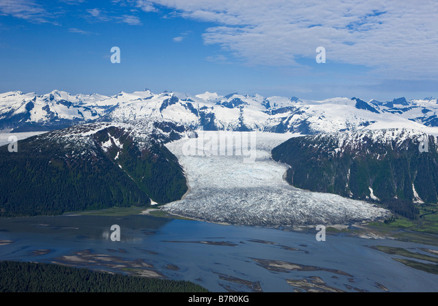Aerial view of Taku River and Hole in the Wall Glacier, Inside Passage, Alaska - Stock Image