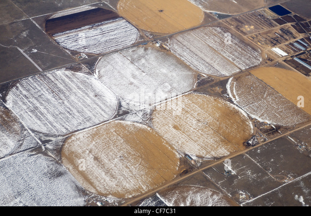 Farmland from 30,000 feet in winter, Kansas, United States - Stock-Bilder