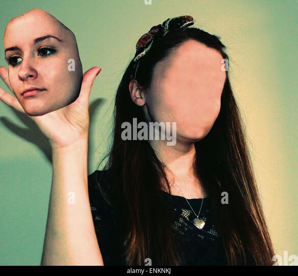faceless, lack of identity,photoshop, photoshop manipulation, portraiture, color photography, shadows, model, make - Stock Image