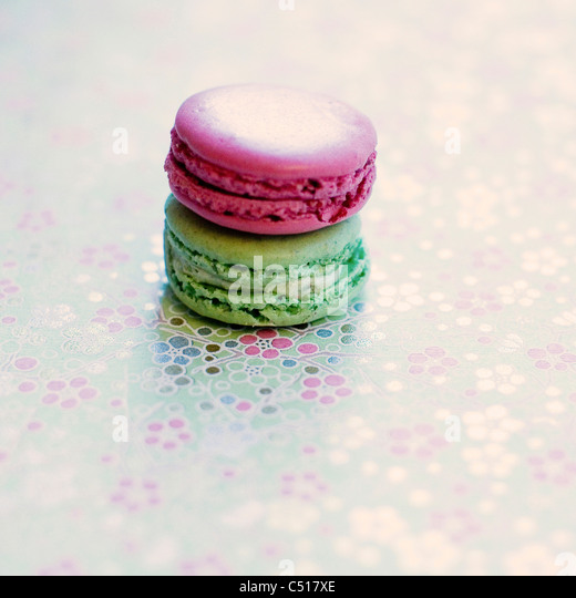 Pink and green macarons - Stock-Bilder