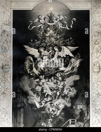 Christmas historical: 'Christ Night' after an etching by Ludwig Richter - Stock Image