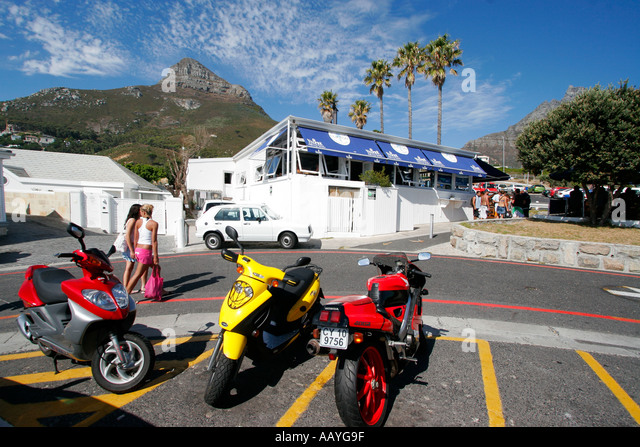 south africa cape town clifton beach motorcycles beach bar girls - Stock Image