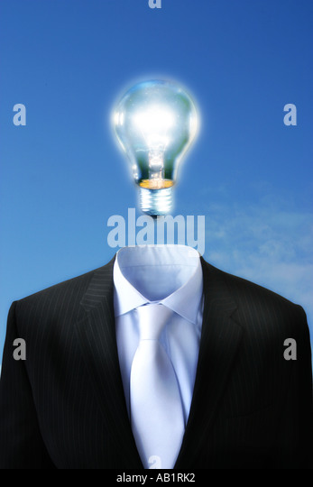 a bulb above a suit - Stock-Bilder