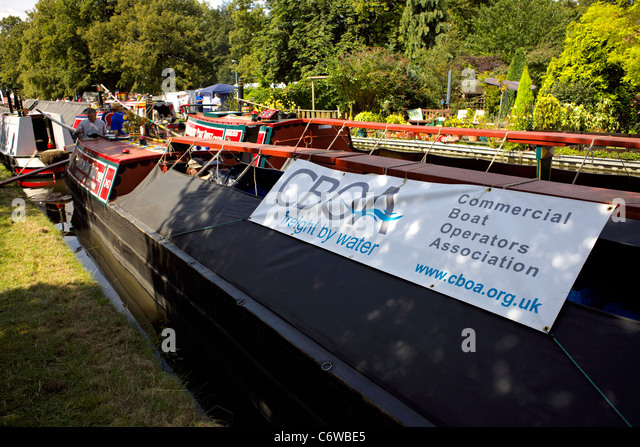 Traditional working narrowboat, freight, carrying, moored on the Trent and Mersey Canal - Stock Image